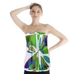 Green Abstract Flower Strapless Top