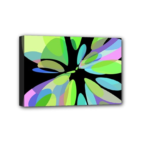 Green abstract flower Mini Canvas 6  x 4