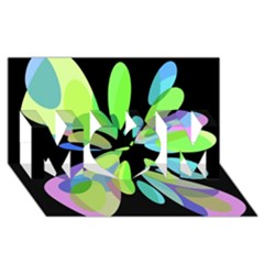 Green abstract flower MOM 3D Greeting Card (8x4)
