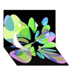 Green Abstract Flower Heart 3d Greeting Card (7x5)