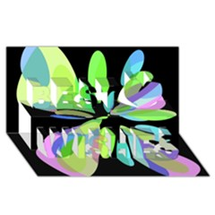 Green abstract flower Best Wish 3D Greeting Card (8x4)