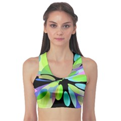 Green abstract flower Sports Bra