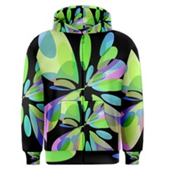 Green abstract flower Men s Zipper Hoodie