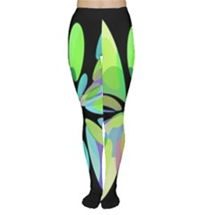 Green abstract flower Women s Tights