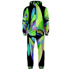 Green abstract flower Hooded Jumpsuit (Men)