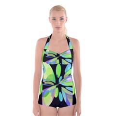 Green Abstract Flower Boyleg Halter Swimsuit