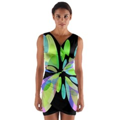 Green Abstract Flower Wrap Front Bodycon Dress