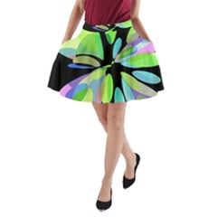 Green abstract flower A-Line Pocket Skirt