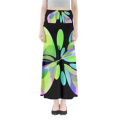 Green abstract flower Maxi Skirts