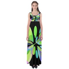 Green Abstract Flower Empire Waist Maxi Dress