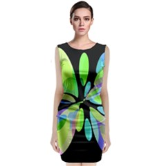 Green abstract flower Classic Sleeveless Midi Dress