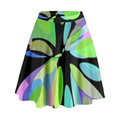 Green abstract flower High Waist Skirt