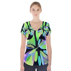 Green Abstract Flower Short Sleeve Front Detail Top