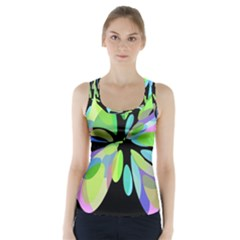 Green abstract flower Racer Back Sports Top