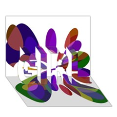 Colorful abstract flower GIRL 3D Greeting Card (7x5)