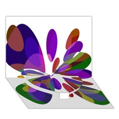 Colorful Abstract Flower Heart Bottom 3d Greeting Card (7x5)