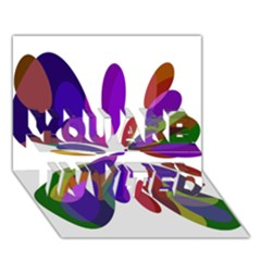 Colorful abstract flower YOU ARE INVITED 3D Greeting Card (7x5)