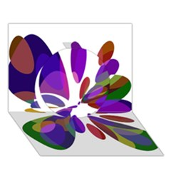Colorful abstract flower Circle 3D Greeting Card (7x5)