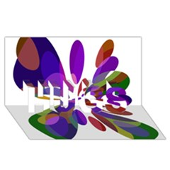 Colorful abstract flower HUGS 3D Greeting Card (8x4)