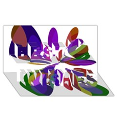 Colorful abstract flower Best Wish 3D Greeting Card (8x4)
