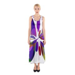 Colorful abstract flower Sleeveless Maxi Dress