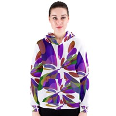 Colorful abstract flower Women s Zipper Hoodie