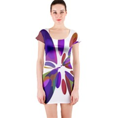 Colorful abstract flower Short Sleeve Bodycon Dress