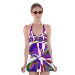 Colorful abstract flower Halter Swimsuit Dress