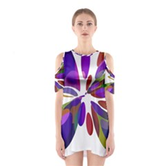 Colorful abstract flower Cutout Shoulder Dress