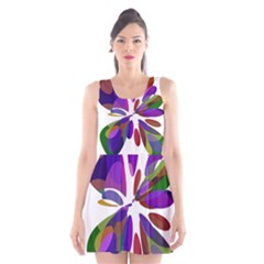 Colorful Abstract Flower Scoop Neck Skater Dress