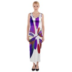 Colorful abstract flower Fitted Maxi Dress