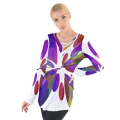 Colorful abstract flower Women s Tie Up Tee