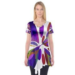 Colorful abstract flower Short Sleeve Tunic