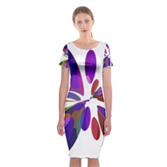 Colorful abstract flower Classic Short Sleeve Midi Dress