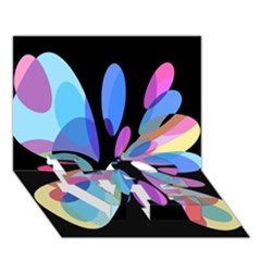 Blue abstract flower LOVE Bottom 3D Greeting Card (7x5)