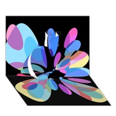 Blue abstract flower Apple 3D Greeting Card (7x5)