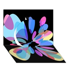 Blue abstract flower Circle 3D Greeting Card (7x5)