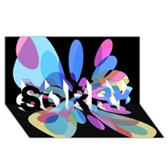 Blue abstract flower SORRY 3D Greeting Card (8x4)