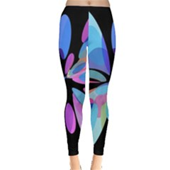 Blue abstract flower Leggings