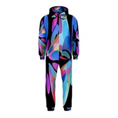 Blue abstract flower Hooded Jumpsuit (Kids)