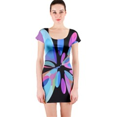 Blue abstract flower Short Sleeve Bodycon Dress
