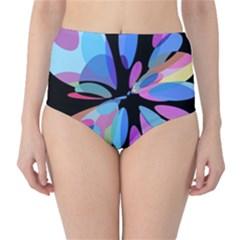 Blue abstract flower High-Waist Bikini Bottoms