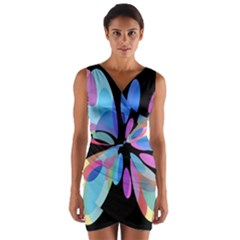 Blue abstract flower Wrap Front Bodycon Dress