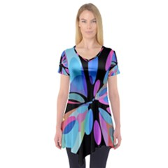 Blue Abstract Flower Short Sleeve Tunic