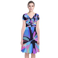 Blue abstract flower Short Sleeve Front Wrap Dress