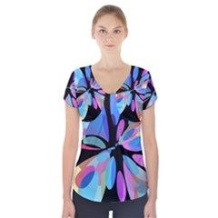 Blue abstract flower Short Sleeve Front Detail Top
