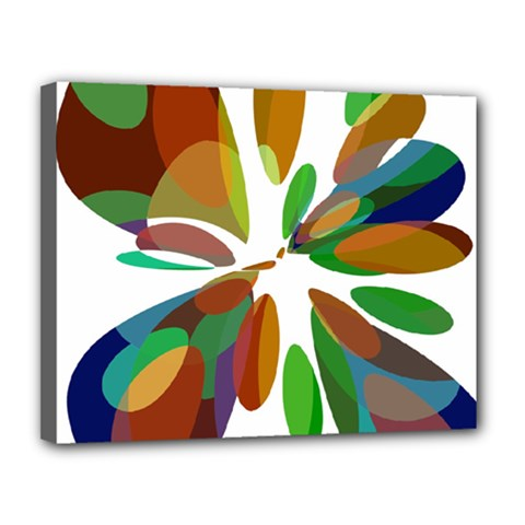 Colorful abstract flower Canvas 14  x 11