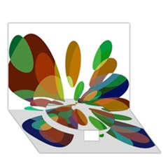 Colorful abstract flower Circle Bottom 3D Greeting Card (7x5)