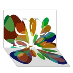 Colorful abstract flower Clover 3D Greeting Card (7x5)