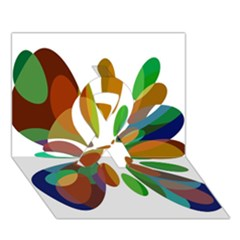 Colorful abstract flower Ribbon 3D Greeting Card (7x5)